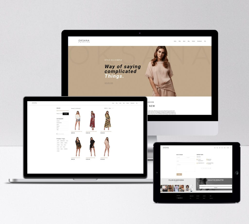 OKSANA Fashion website redesign on multi-screen view