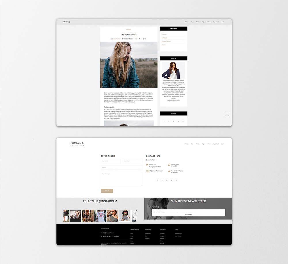 OKSANA Fashion website redesign pages